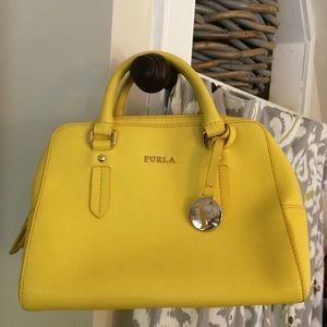 Furla Elena Mini Satchel in Bright Yellow